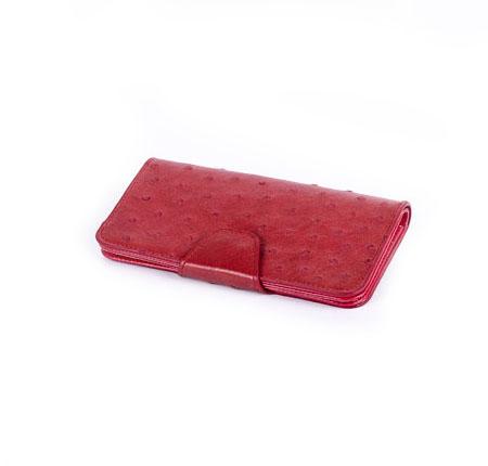 کیف مدارکی مدل پرکاد چرم شتر مرغ قرمز